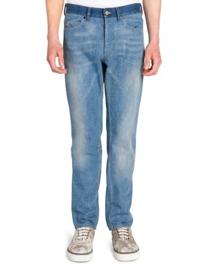 stonewashed dropped crotch jeans