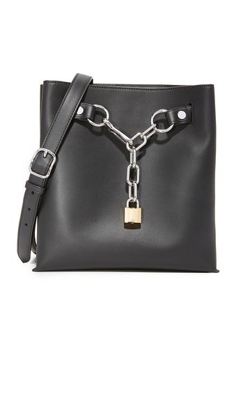 ALEXANDER WANG Attica Chain Shoulder Bag In Smooth Black With Rhodium - Black