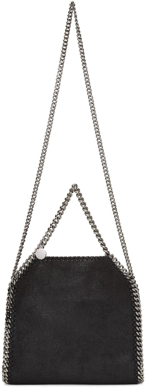STELLA MCCARTNEY Black Faux Suede 'Falabella' Braided Chain Detail Mini Shoulder Bag