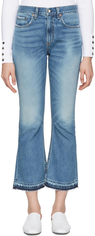 Blue Crop Flare Jeans