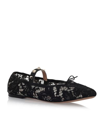 Valentino Leathers Rockstud And Lace Ballet Flats
