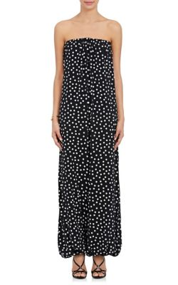 Polka Dot Stretch-Silk Georgette Strapless Jumpsuit.
