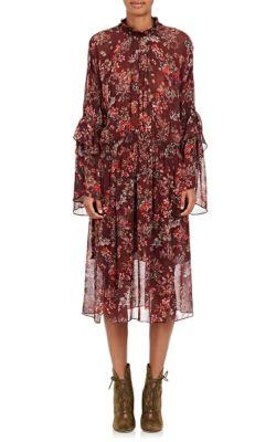Smocked floral-print georgette dress