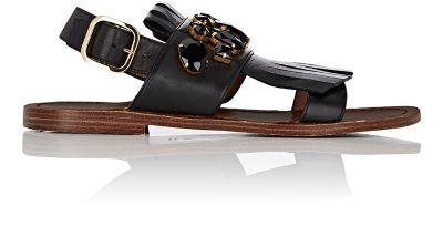 Embellished Leather Tassel Ankle Strap Sandals
