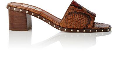 Valentino Leathers Soul Rockstud Stamped Leather Slide Sandals
