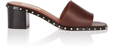 Valentino Leathers Soul Rockstud Leather Slide Sandals