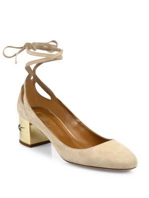 Trinity Suede Ankle-Wrap Block-Heel Pumps