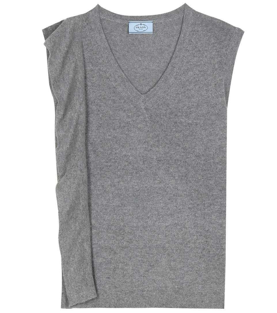 SLEEVELESS ASYMMETRICAL WOOL AND CASHMERE SWEATER