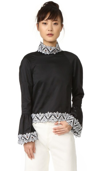 JONATHAN SIMKHAI Embroidered Mock Neck Top in Black/White