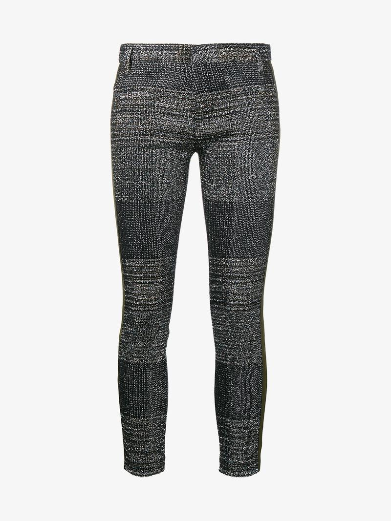 Haider Ackermann Leathers LUREX AND LEATHER PANEL TROUSERS