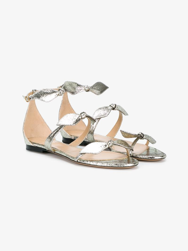 Chloé Leathers CHLOÉ SILVER MIKE LEATHER SANDALS
