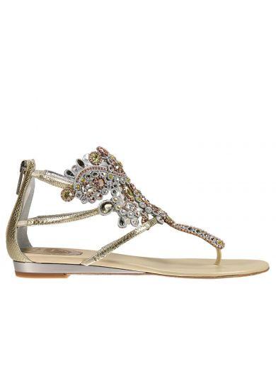 René Caovilla Crystals Flat Sandals Shoes Women Rene Caovilla