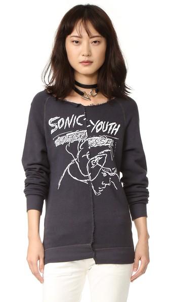 R13 Split Seam Sonic Youth Sweatshirt in Vintage Black