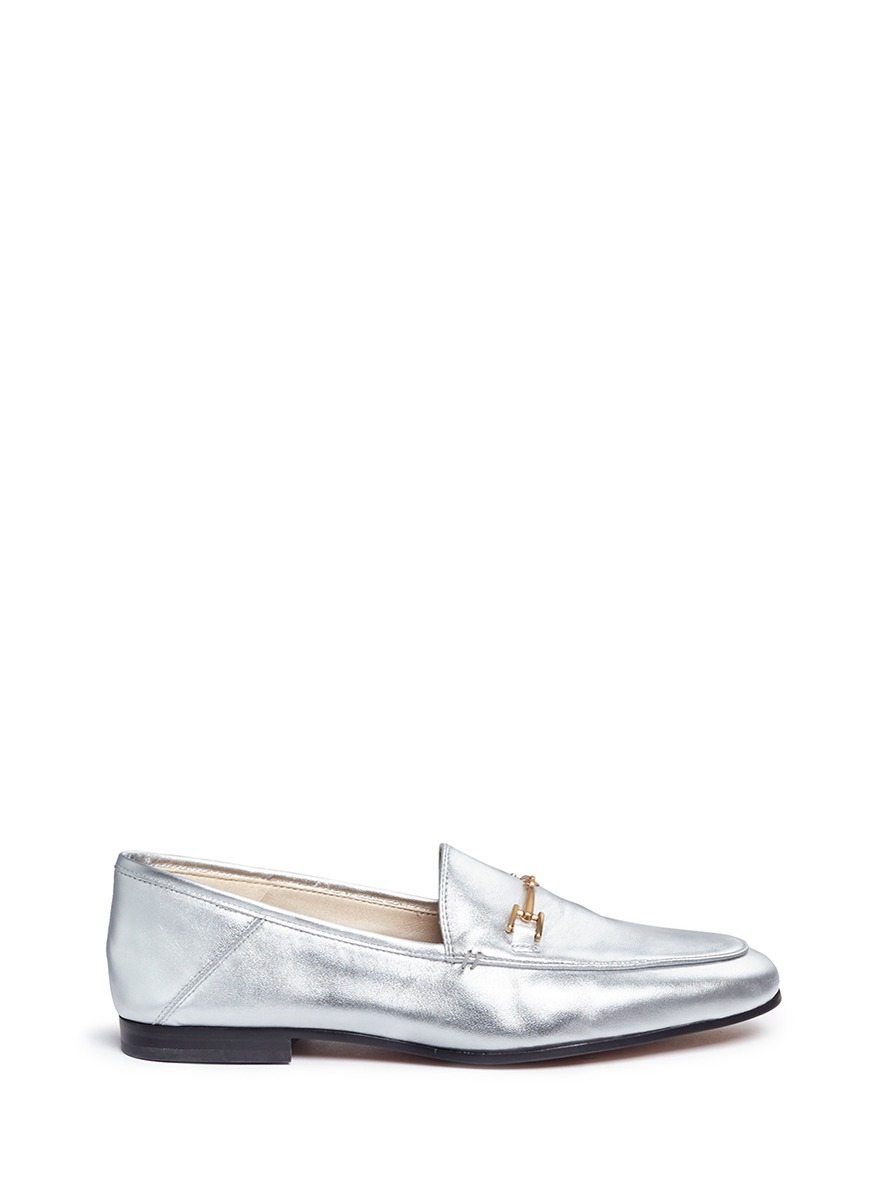 'Loraine' horsebit metallic leather loafers