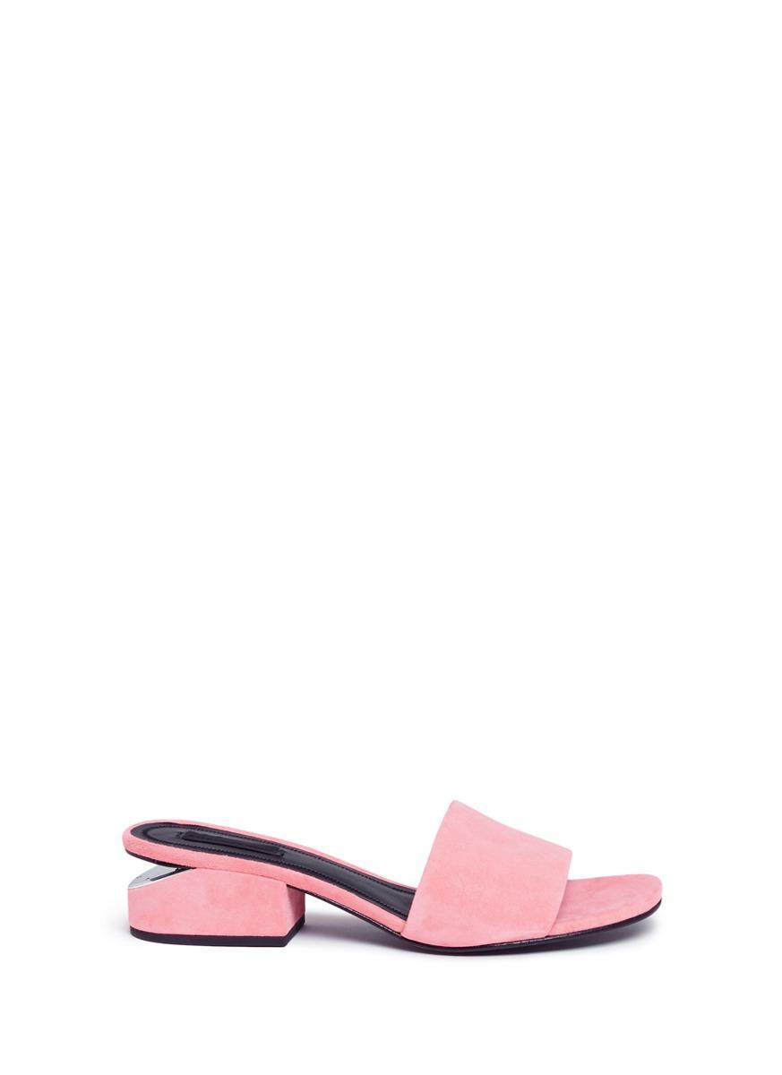 Alexander Wang Suedes 'Lou' cutout heel suede slide sandals