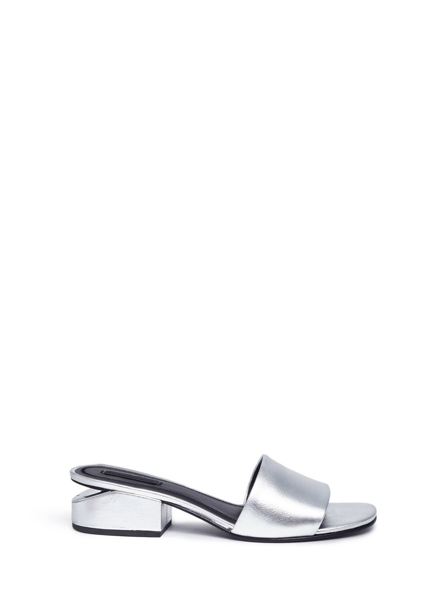 Alexander Wang Leathers 'Lou' cutout heel metallic leather slide sandals
