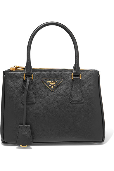 SAFFIANO MINI DOUBLE-ZIP TOTE BAG, BLACK