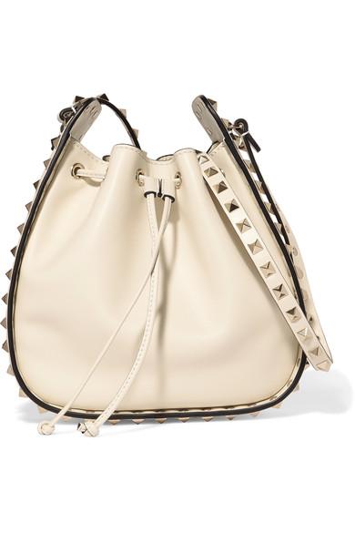 Valentino Leathers The Rockstud leather bucket bag