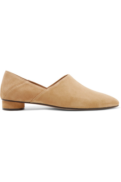 The Row Suedes Noelle collapsible-heel suede loafers