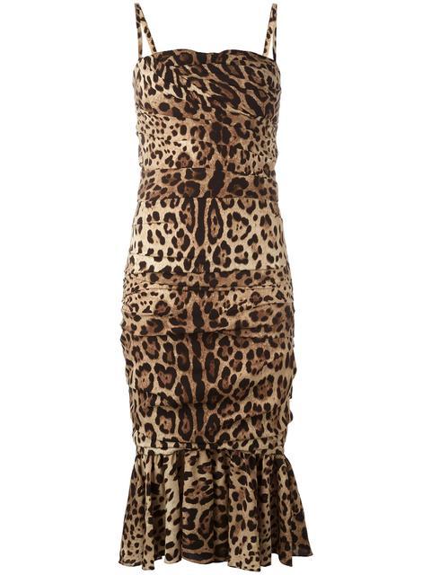 Dolce & Gabbana Silks DOLCE & GABBANA LEOPARD PRINT PEPLUM DRESS - NEUTRALS