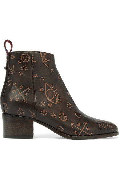 Valentino Leathers Embossed leather ankle boots