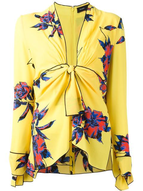 Proenza Schouler Silks tie-front floral blouse