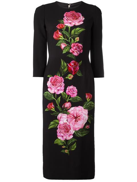 Dolce & Gabbana Silks ROSE PRINT CADY DRESS