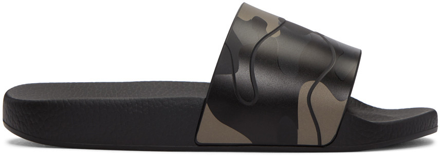 Camouflage-print rubber slider sandals
