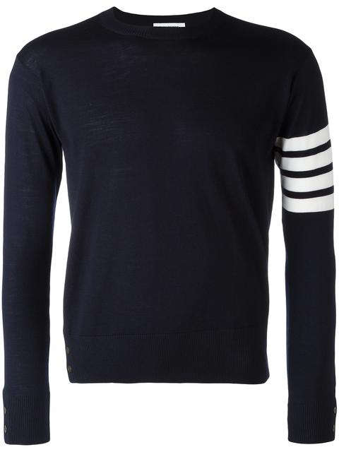 THOM BROWNE Crewneck Pullover With 4-Bar Stripe In Navy Merino