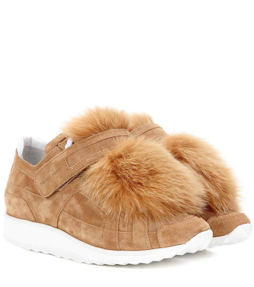 Fox Runner fur-trimmed suede sneakers