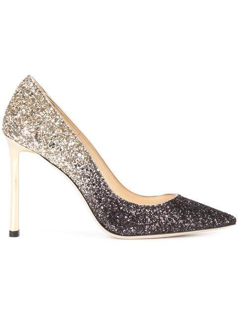 ROMY 100 Black and Nude Coarse Glitter Degradé Pointy Toe Pumps
