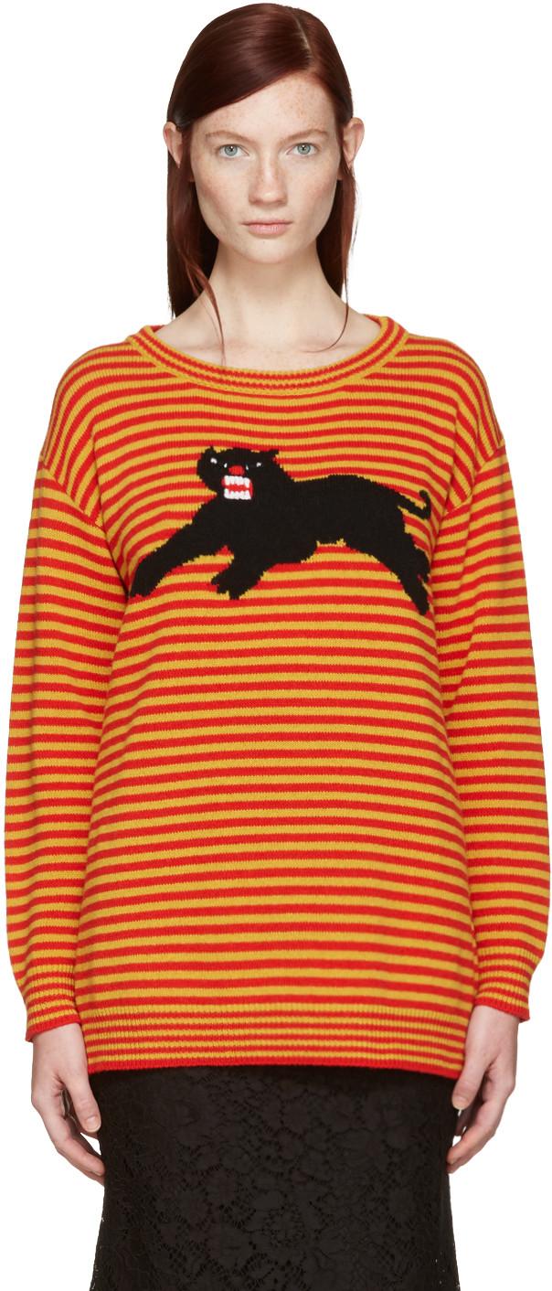 GUCCI Yellow & Red Striped Puma Sweater in Yellow & Orange | ModeSens