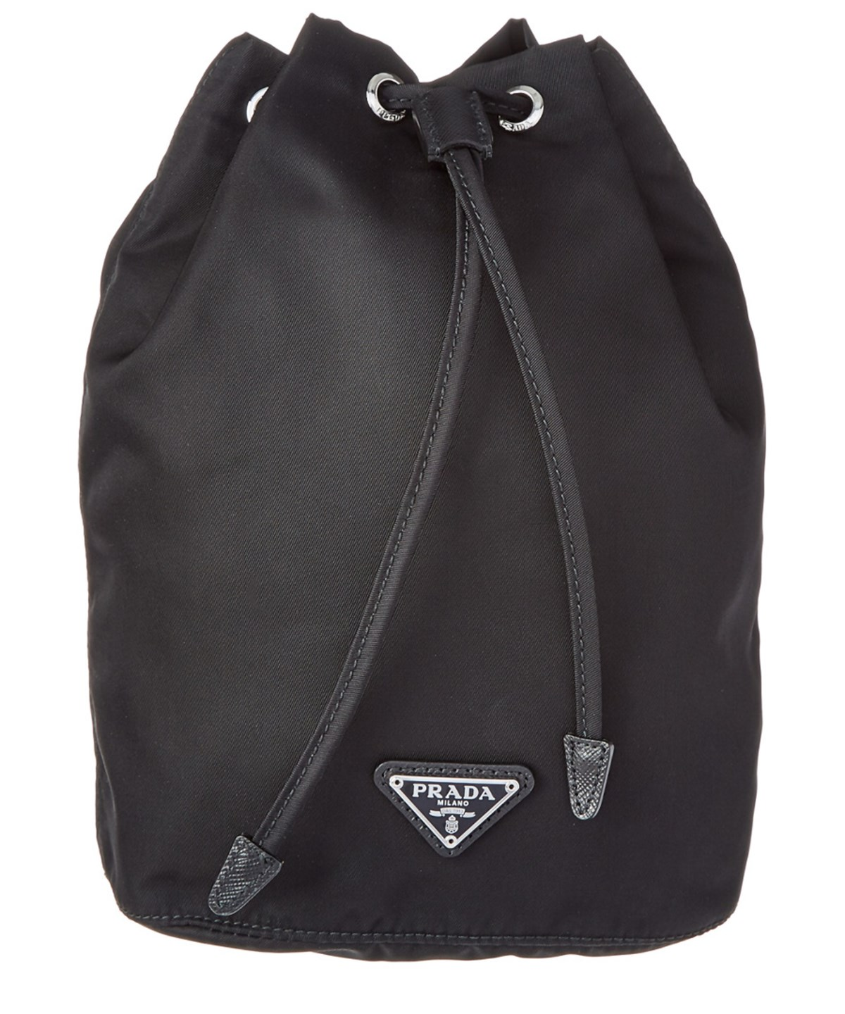 Leather-trimmed drawstring nylon wash bag