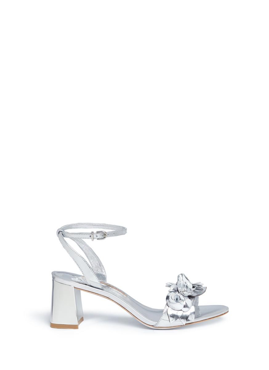 Sophia Webster Leathers 'Lilico' floral appliqué mirror leather sandals
