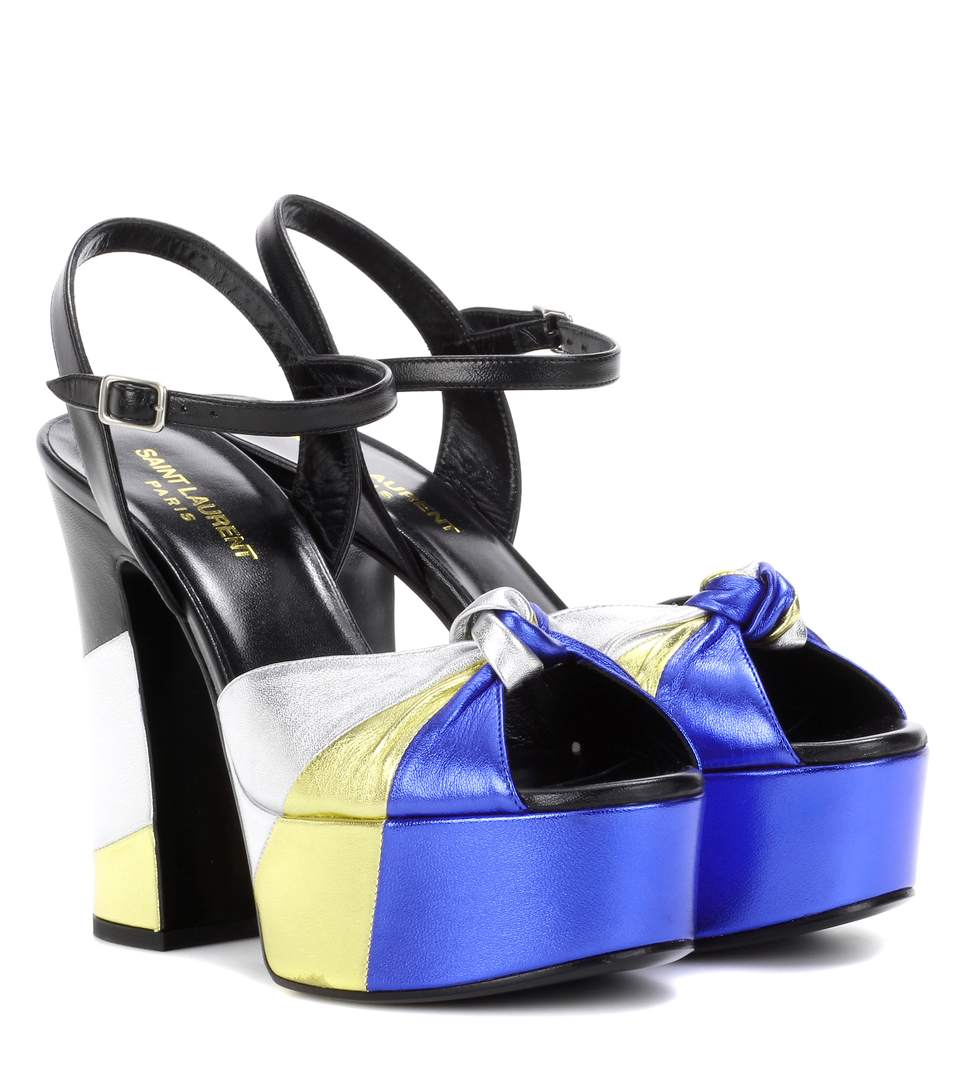 Women'S Candy 80 Metallic Bow Platform Sandals In Black, Silver, Gold And Blue