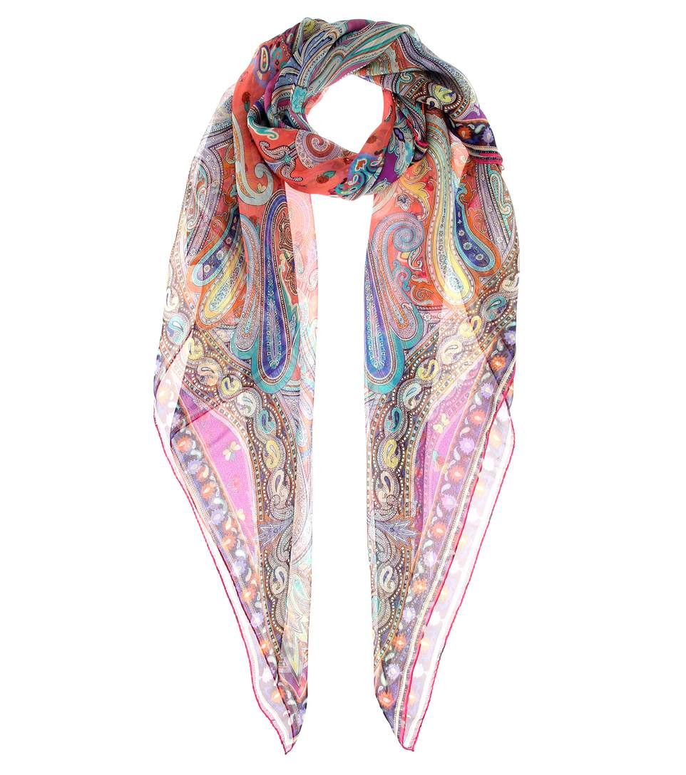 etro patterned silk scarf multicolor modesens