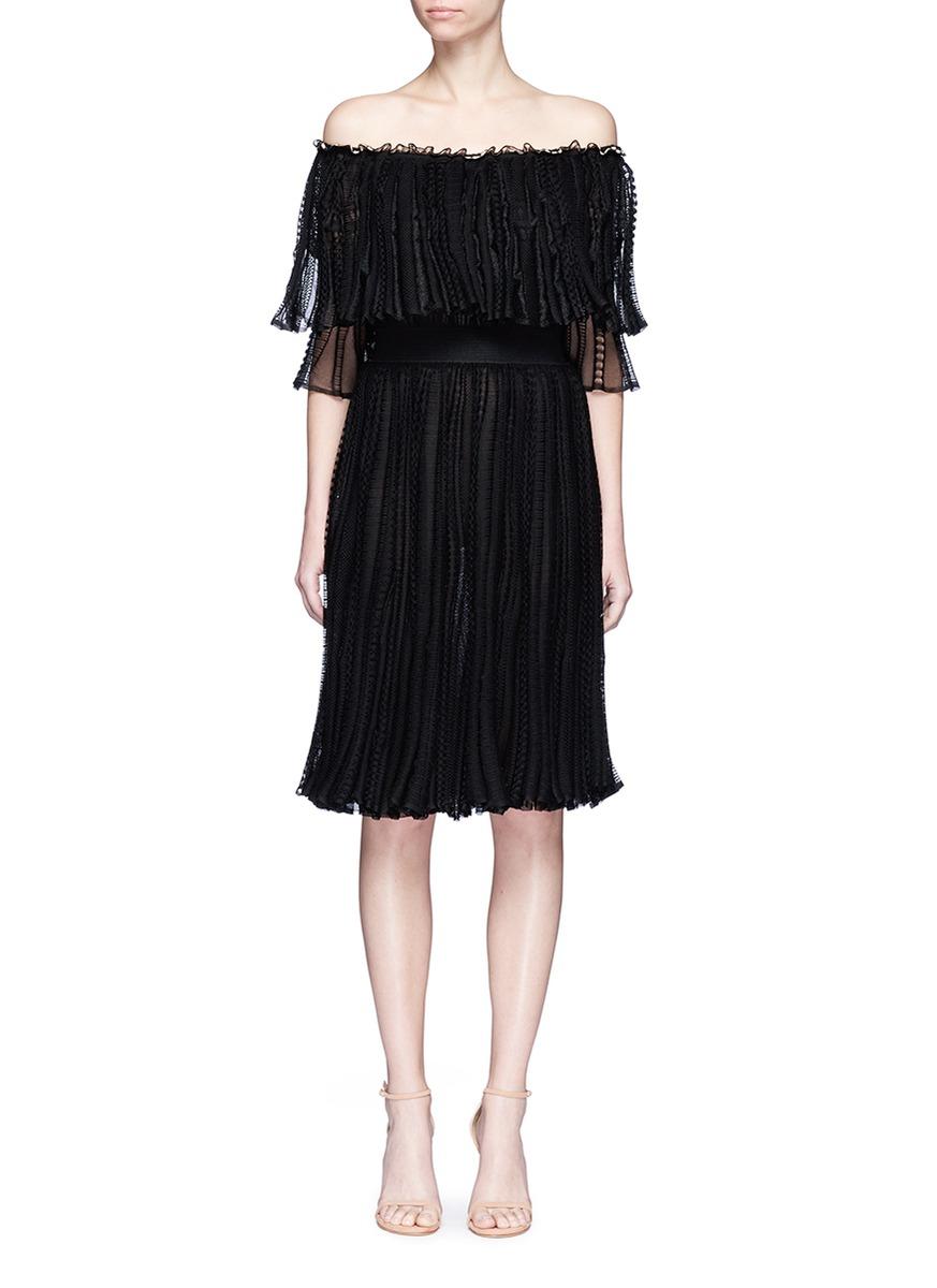 Alexander Mcqueen Silks Ruffle netted mesh off-shoulder dress