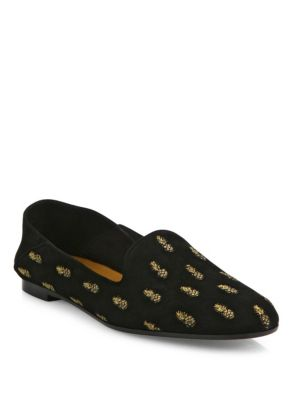 PINEAPPLE-EMBROIDERED SUEDE FOLDABLE-HEEL LOAFERS
