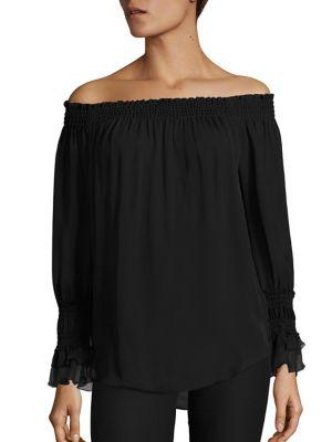 Kobi Halperin Silks Genina Off-the-Shoulder Silk Blouse