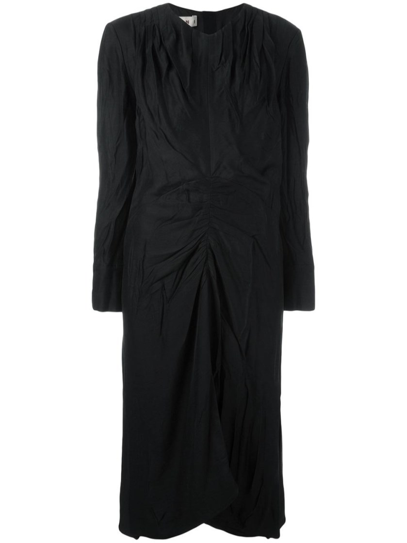 Marni Silks ruched v-neck dress