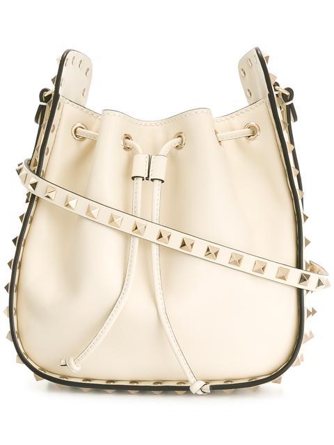 Valentino Leathers Valentino Garavani Rockstud bucket shoulder bag