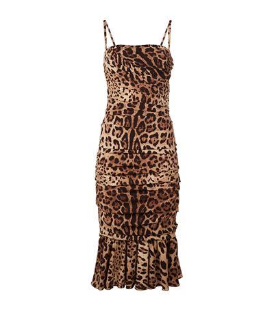 Dolce & Gabbana Silks Leopard Print Strap Dress