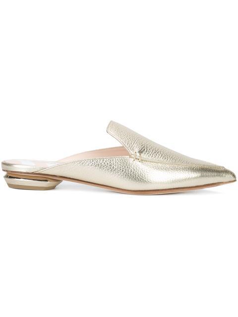 'Beya' metal heel leather loafer mules