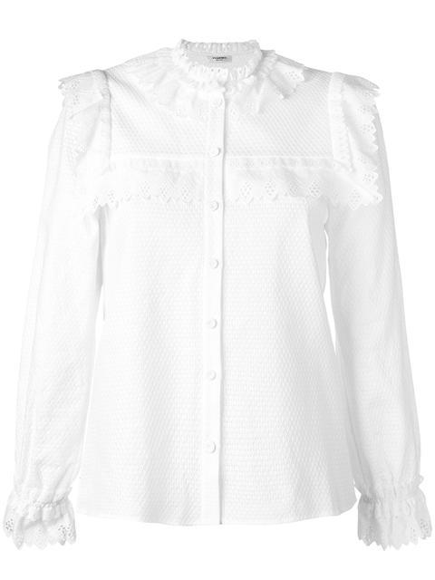 scalloped bib shirt