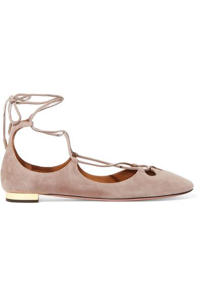 Dancer lace-up suede ballet flats
