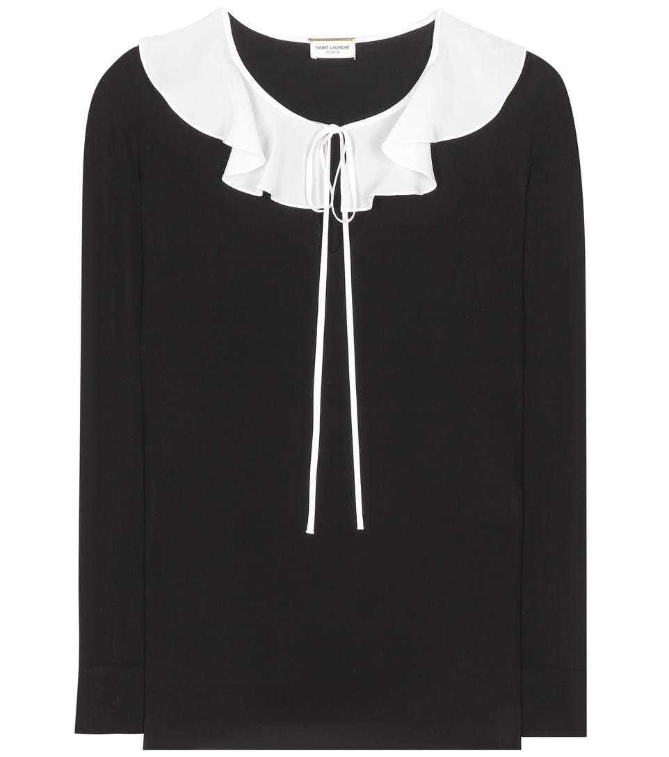 Ruffled silk crepe de chine blouse