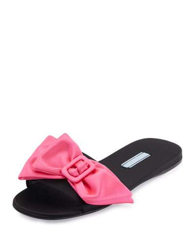 Bow-Embellished Satin Slide Sandals