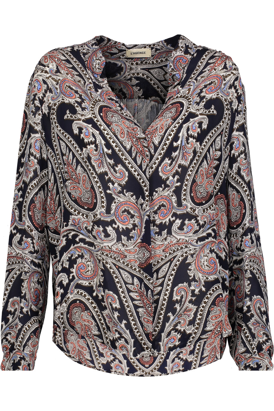 L Agence Silks Bianca printed silk crepe de chine shirt