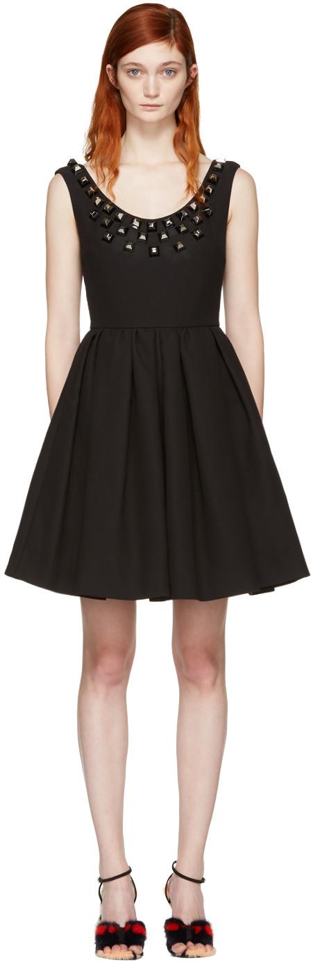 Fendi Silks Black Studded Pleated Dress