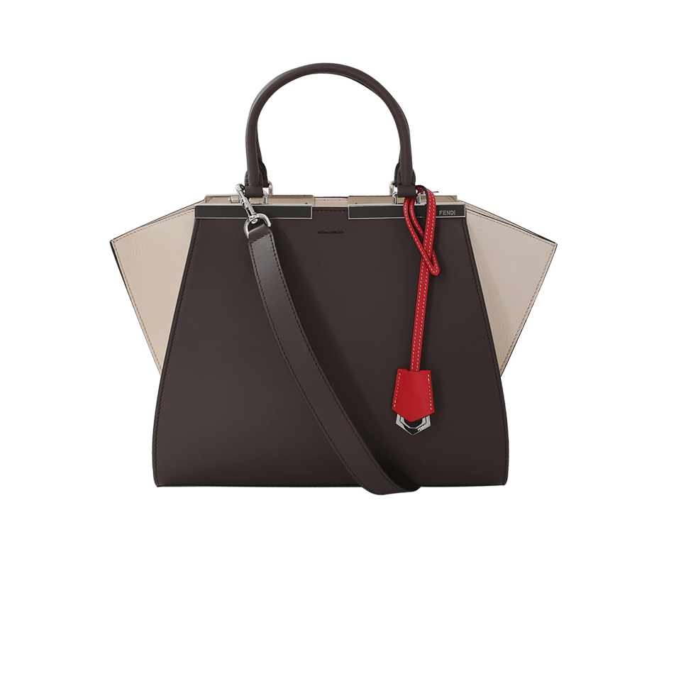 3JOURS COLORBLOCK CALFSKIN LEATHER SHOPPER - BROWN